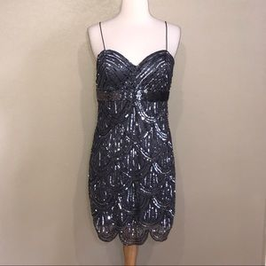 Jump Apparel By Wendy Chacitin Gray Sequin Dress